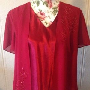 ANOTHER THYME Womens Blouse Red Sequin Christmas